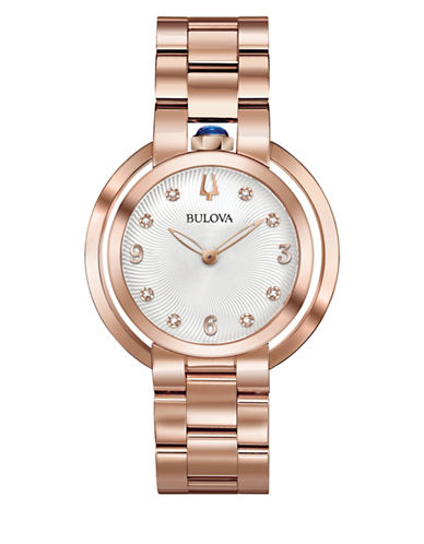 Bulova Rubaiyat Collection Rose Goldtone Stainless Steel Link Bracelet Watch-ROSE GOLD-One Size
