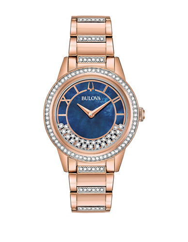 Bulova Swarovski Crystal Analog Rose Gold Stainless Steel Bracelet Watch 90022339
