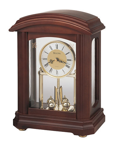 Bulova Nordale Glass Front Pendulum Mantel Clock-CHERRY-One Size