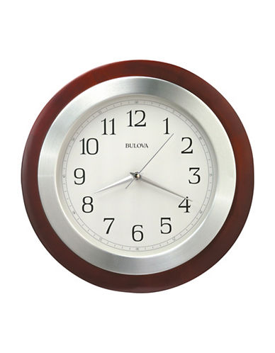 Bulova Reedham Wood Aluminum Clock-CHERRY-One Size