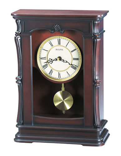 Bulova Abbeville Carved Wood Mantel Clock-CHERRY-One Size