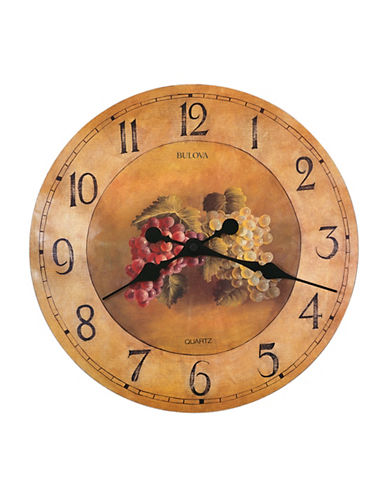 Bulova Antique Fruit-Motif Wall Clock-BROWN-One Size