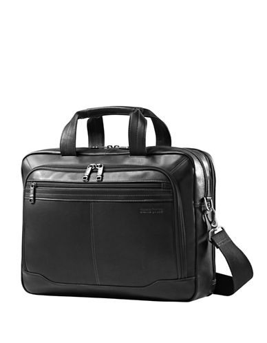 Samsonite Leather Top Zip 2 Gusset Briefcase-BLACK-One Size