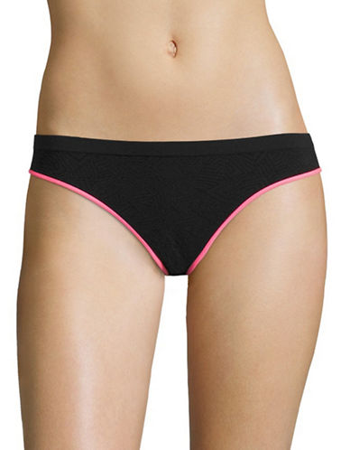Design Lab Lord & Taylor Jacquard Microfibre Bikini Brief-BLACK/WATERMELON-Small