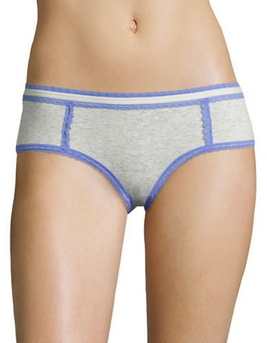 Design Lab Lord & Taylor Speckled Lace-Trim Hipster Brief-GREY/BLUE JEWEL-X-Large