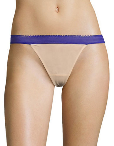 Design Lab Lord & Taylor Two-Tone Mesh Thong-TOASTED ALMOND/BLUE-Medium