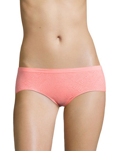 Design Lab Lord & Taylor Jacquard Seamless Hipster Panty-SALMON ROSE-X-Large