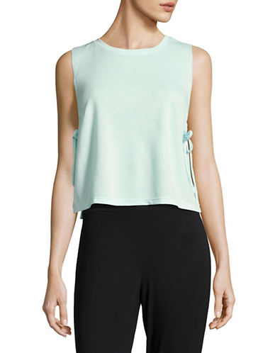 Design Lab Lord & Taylor Side-Tie Mesh-Knit Tank-BLEACHED AQUA-Small