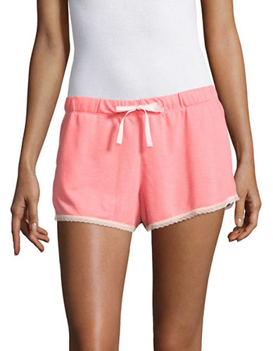 Design Lab Lord & Taylor Lace-Trim Shorts-SALMON ROSE-X-Large
