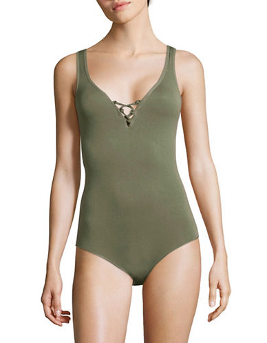 Design Lab Lord & Taylor Seamless Lace-Up Bodysuit-GREEN-Small