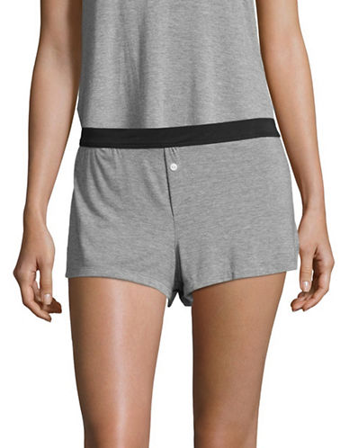 Design Lab Lord & Taylor Solid Boxer Shorts-GREY-Large