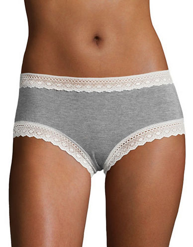 Design Lab Lord & Taylor Lace-Trimmed Hipster Panty-GREY-Small