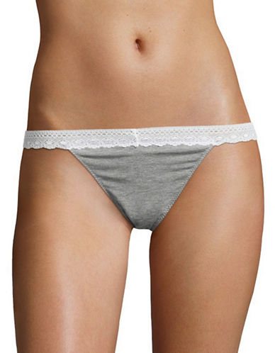 Design Lab Lord & Taylor Lace-Trimmed Thong-GREY-Medium