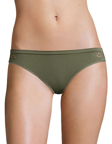 Design Lab Lord & Taylor Seamless Back Bikini Bottom-GREEN-Large