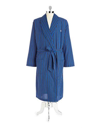 Polo Ralph Lauren Plaid Woven Cotton Robe-BLACK PLAID-Small/Medium
