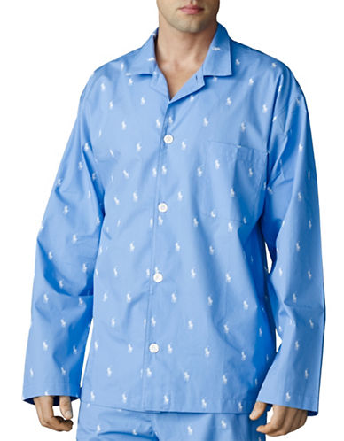 Polo Ralph Lauren Pony Print Pyjama Top-BLUE-Medium