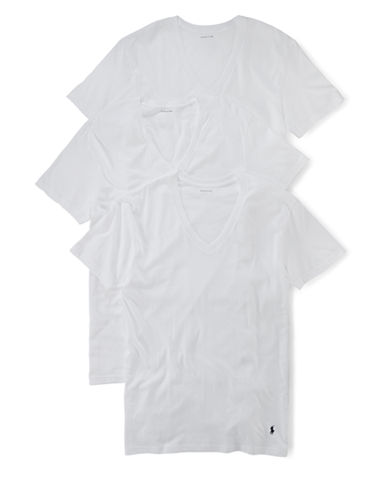 Polo Ralph Lauren Classic Cotton Three V-Neck-WHITE-Medium
