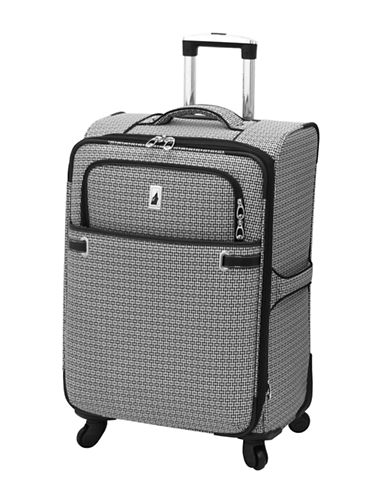 London Fog Stratford 24-Inch Expandable Upright Spinner-BLACK/WHITE-24