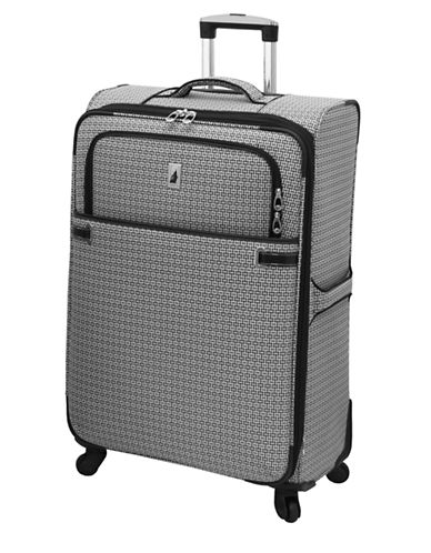 London Fog Stratford 28-Inch Expandable Upright Spinner-BLACK/WHITE-28