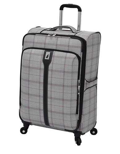 London Fog Knightsbridge 25  Expandable Spinner-BURGUNDY/GREY PLAID-25