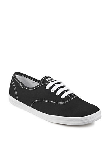 Keds Womens Champion Canvas Sneakers-BLACK-8.5