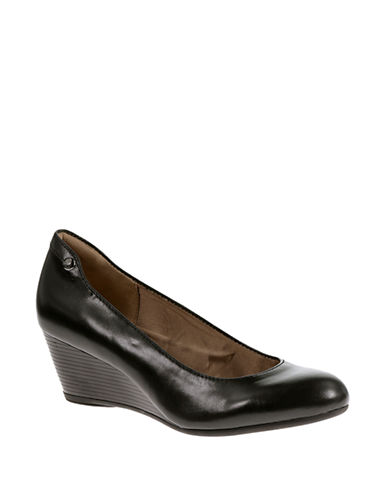 Hush Puppies Farah Rhea Leather Wedge Pumps-BLACK-9.5