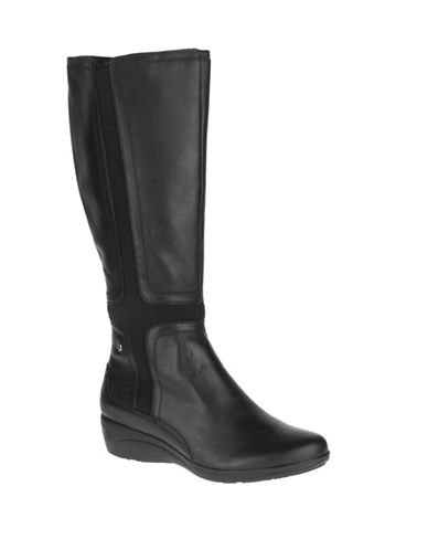 Hush Puppies Chaste Ballet Leather Boots-BLACK-8.5