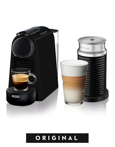 Nespresso Essenza Mini Espresso Coffee Machine with Aeroccino Milk Frother by DeLonghi, Black-BLACK-One Size