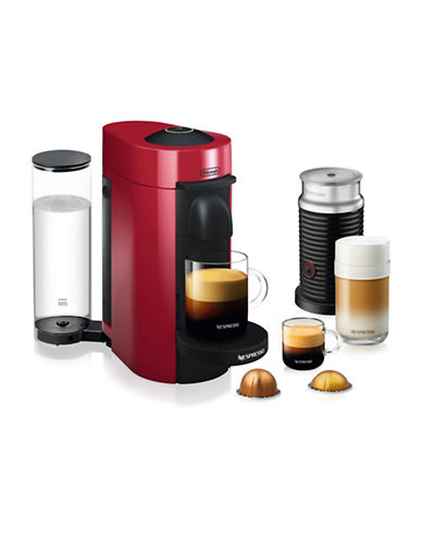 Nespresso Vertuo Plus Coffee and Espresso Machine and Aeroccino-RED-One Size