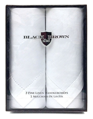Black Brown 1826 Two-Pack Fine Linen Handkerchiefs-WHITE-One Size