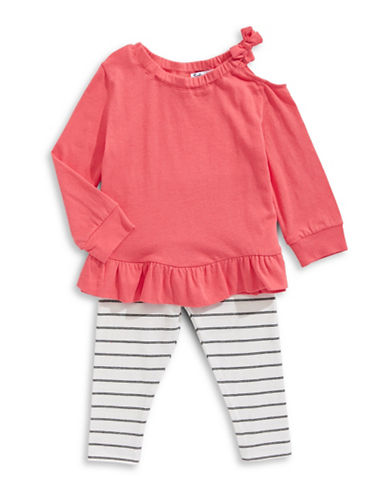 Splendid Ruffle Shirt and Striped Pants Two Piece Set-CORAL-3X