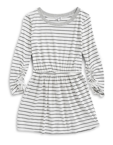 Splendid Striped Long-Sleeve Dress-WHITE-7-8