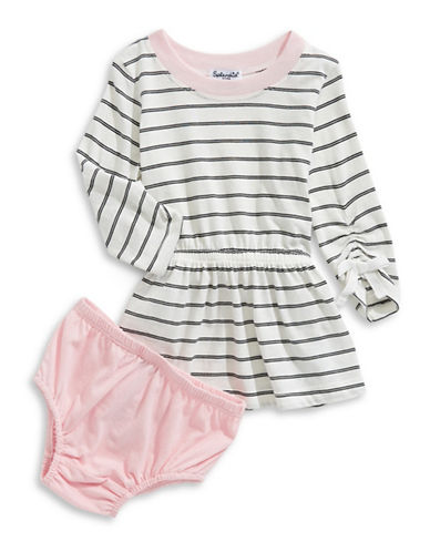 Splendid Striped Long-Sleeve Dress and Bloomers Set-WHITE-2X
