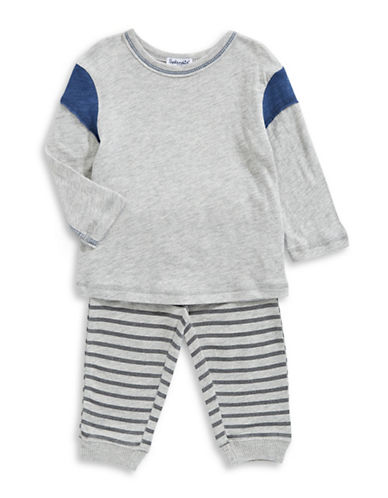 Splendid Two-Piece Colourblock Sweater and Striped Jogger Pants Set-GREY-24 Months