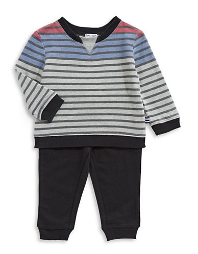 Splendid Striped Sweater and Jogger Pants Set-GREY-5-6