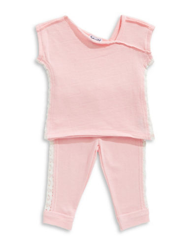 Splendid Crochet Lace Top and Pants Set-PINK-24 Months