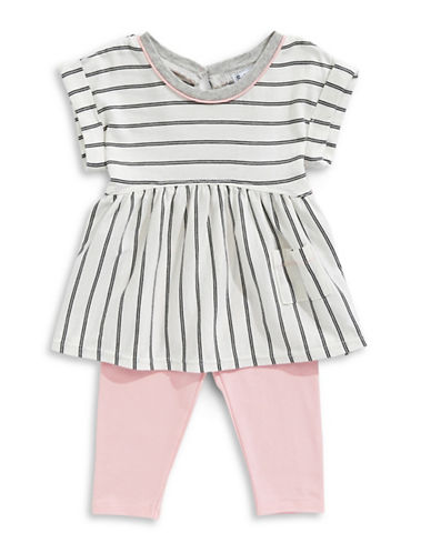 Splendid Striped Top and Leggings Set-WHITE-2X