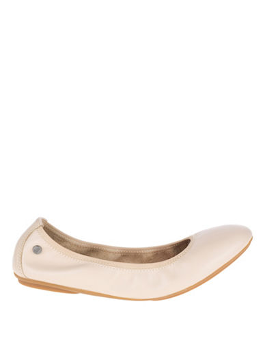 Hush Puppies Chaste Leather Ballet Flats-NUDE-6.5