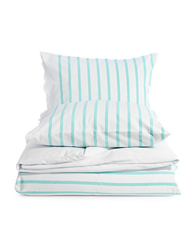 Kate Spade New York Harbour Stripe Three-Piece Canvas Duvet Set-TURQUOISE-Twin
