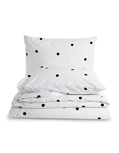 Kate Spade New York Deco Dotted Three-Piece Duvet Cover Set-WHITE-Queen