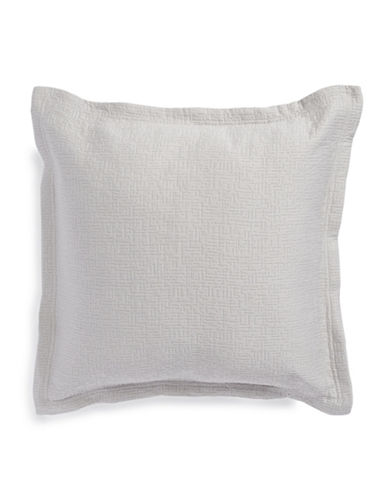 Barbara Barry Matelasse Square Cushion Pillow-SILVER-18x18