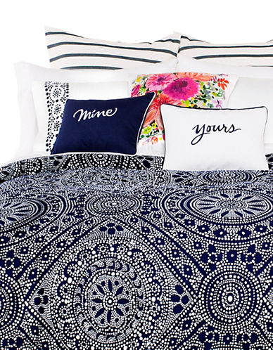 Kate Spade New York Eyelet Duvet Cover Set-NAVY-King