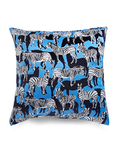 Kate Spade New York Zebra-Printed Square Pillow-BLUE-20x20