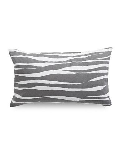 Kate Spade New York Zebra-Printed Square Cotton Pillow-GREY-18x18