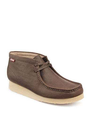 Clarks Stinson Moc Toe Chukka Boots-BROWN-12