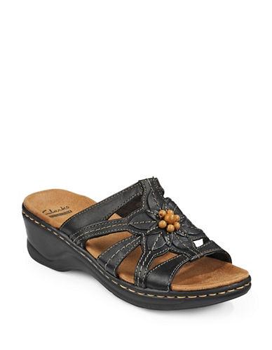 Clarks Lexi Cushioned Slip-On Sandals-BLACK-8W