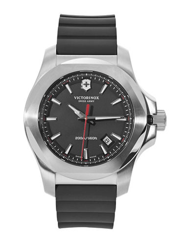 Victorinox Swiss Army INOX Rubber Strap Watch-BLACK-One Size