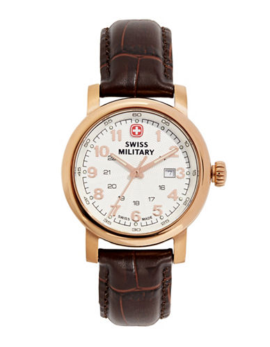 Swiss Military Urban Classic Rose Gold Tone and Leather Watch-BROWN-One Size