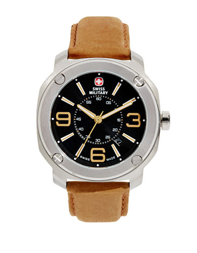 Swiss Military Escort Stainless Steel and Suede Watch-BROWN-One Size