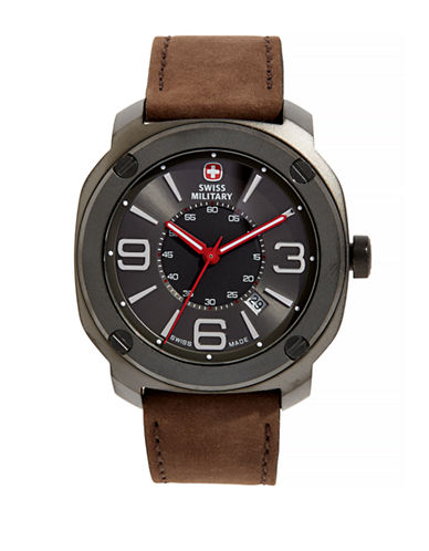 Swiss Military Escort Grey Stainless Steel Watch-BROWN-One Size